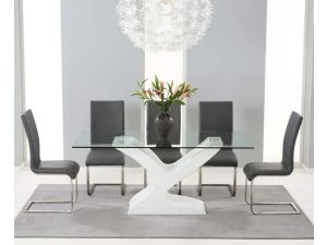 Natalie 180cm Glass Dining Table With 6 Malibu Grey Leather Chairs