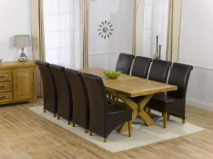 Canterbury Solid Oak Dining Table + 8 Roma Dining Chair Dining Set