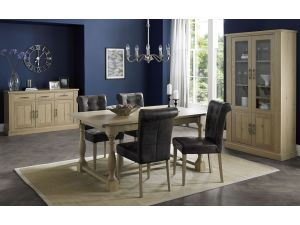 Bentley Designs Chartreuse Aged Oak 4-10 Dining Table & 6 Distressed Leather Chairs