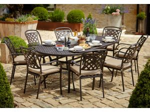 Hartman Berkeley 8 Seater Oval Bronze Dining Set With Cushions And Parasol