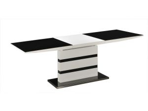 Arctic Black and White High Gloss Small Extending Dining Table