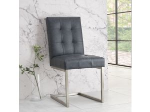 Bentley Designs Tivoli Distressed Black Bonded Leather Chairs Pair