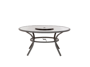 Royalcraft Sorrento 150cm Black Glass Round Aluminium Table & Lazy Susan