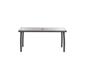 Royalcraft Sorrento 160cm Black Glass Rectangular Aluminium Dining Table