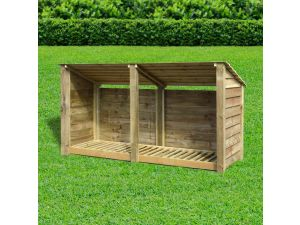 Rutland Normanton 4ft Light Green Solid With Reverse Roof Wooden Log Store