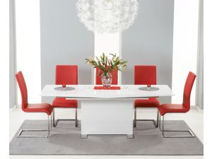 Marila 150cm White High Gloss Extending Dining Table With 6 Malibu Red Chairs