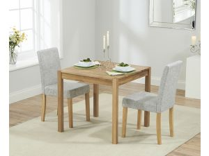 Promo 80 cm Solid Oak Dining Table + 2 Maiya Grey Fabric Chairs