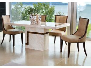 Filippo Marble 120cm Dining Table With 6 Filippo Chairs