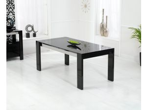 Sophia High Gloss Black Dining Table With a Black Glass Top