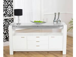 Sophia White High Gloss With a Glass Top Sideboard