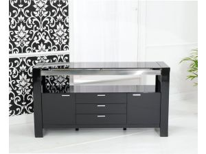 Sophia Black High Gloss With a Glass Top Sideboard