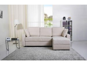 Casablanca Cream Fabric Platform Sofa Bed with Storage