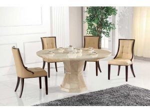 Marcello Cream Marble 130cm Round Dining Table With 4 Marcello Chairs