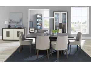 Bentley Designs City Soft Grey and Oak 6 Seat Dining Table + 4 Grey Ella Scoop Chairs