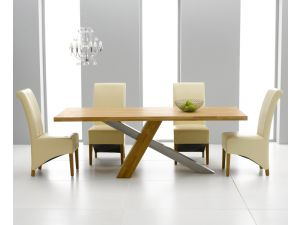 Montana 180cm Solid Oak Dining Table + 6 Barcelona Leather Chairs
