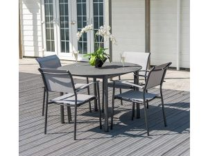 Alexander Rose Portofino Stone 4 Seater Slate Mesh Steel Dining Set with Lite Stacking Sling Armchairs