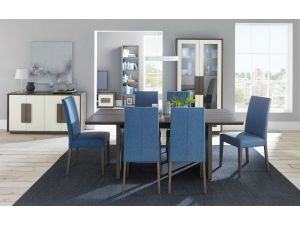 Bentley Designs City Soft Grey and Oak 6 Seat Dining Table + 4 Blue Taper Chairs