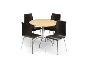 Julian Bowen Mandy Maple Dining Table + 4 Leather Chair Dining Set