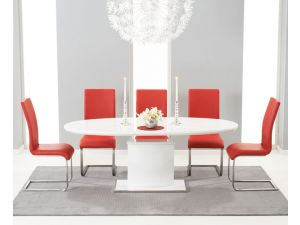 Seville 160cm High Gloss Extending Dining Table With 6 Malibu Red Leather Chairs
