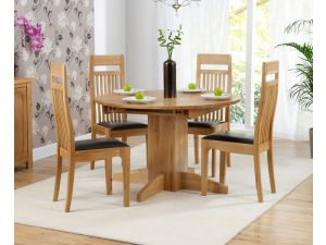 Monte Carlo Solid Oak Extending Dining Table + 4 Monte Carlo Slatted Chairs