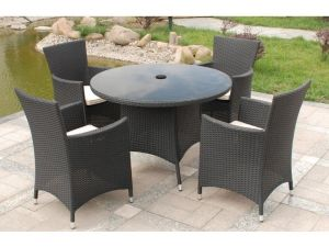 Royalcraft Cannes Black Rattan 4 Seater Round Dining Set