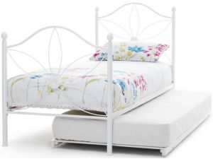 Serene Daisy 3ft Single White Gloss Metal Guest Bed