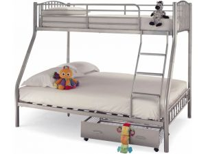 Serene Oslo 4ft6 Double Three Sleeper Silver Metal Bunk Bed