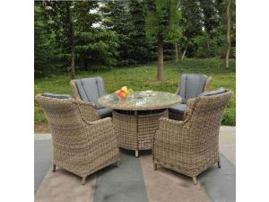 7a15f0a784a8 Royalcraft Wentworth 4 Seater Rattan Round Dining Table With Highback  Comfort Chairs