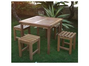 LB Outdoor Leisure Teak Bar Table And Stool Set
