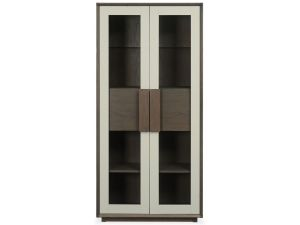 Bentley Designs City Soft Grey and Weathered Oak Display Cabinet
