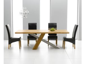 Montana 195cm Solid Oak Dining Table + 6 Roma Leather Chair Dining Set