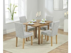 Promo Solid Oak Round Extending Dining Table + 4 Maiya Grey Fabric Chairs