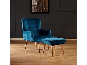 Sareer Florence Teal Velvet Chair With Footstool