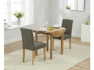 Promo Solid Oak Round Extending Dining Table + 2 Maiya Brown Fabric Chairs