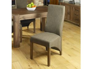 Shiro Walnut Full Back Hazelnut Upholstered Dining Chair Pair