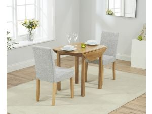 Promo Solid Oak Round Extending Dining Table + 2 Maiya Grey Fabric Chairs