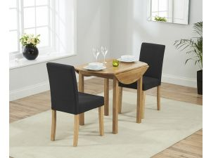 Promo Solid Oak Round Ext. Dining Table + 2 Maiya Black/Dark Grey Fabric Chairs