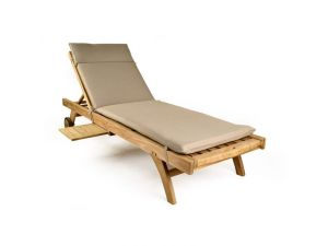 Teak Sun Lounger With Recliner Back And Footrest