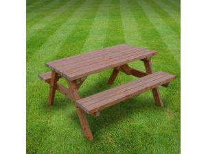 Rutland Oakham 5ft Rustic Brown Picnic Bench