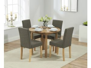 Promo Solid Oak Round Extending Dining Table + 4 Maiya Brown Fabric Chairs
