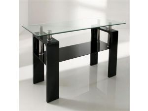 Calico Black Glass Console Table