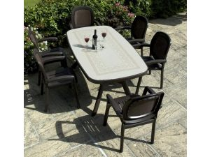 Europa Toscana 165 Table With 6 Beta Chairs in Trama Coffee Set
