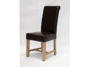 Chunky Scroll Leather Dining Chair (Brown/Oak)
