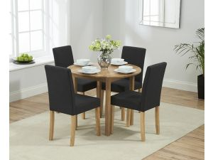Promo Solid Oak Round Ext. Dining Table + 4 Maiya Black/Dark Grey Fabric Chairs
