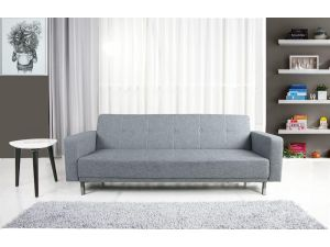 Lux 3 Seater Modern Peppered Grey Fabric Sofa Bed