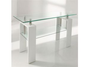 Calico White Glass Console Table