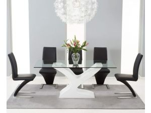 Natalie 180cm Clear Glass Dining Table With 6 Hereford White Leather Chairs