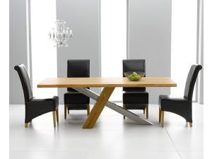 Montana 180cm Solid Oak Dining Table + 6 Roma Leather Chair Dining Set