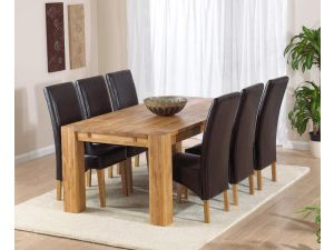 Madrid 200cm Solid Oak Extending Dining Table + 6 Roma Leather Chairs