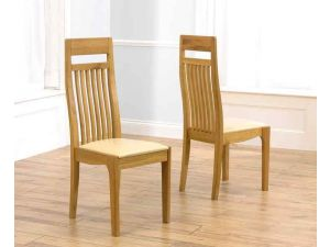 Monte Carlo Solid Oak Dining Chairs With Cream Leather Seat - Pair
